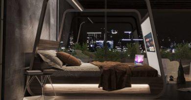 Кревет со вградени звучници и вграден ТВ екран