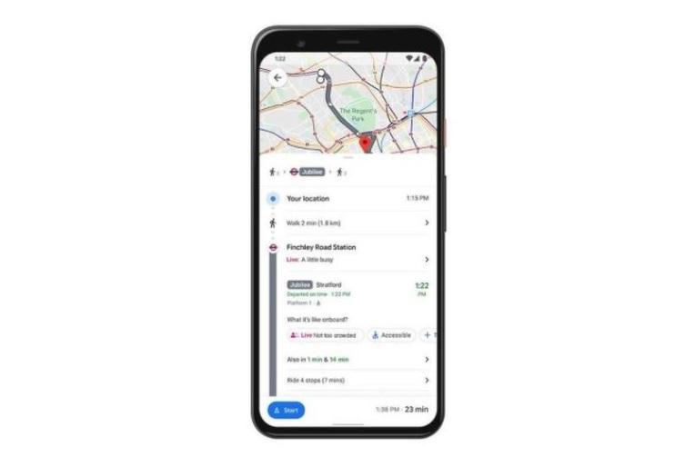 Google Maps во реално време ја покажува пополнетоста во јавниот превоз