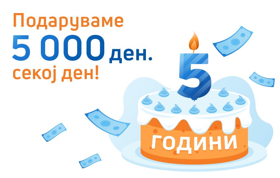 Credissimo прославува 5 години пари навреме со подароци од 5 000 ден. секој ден!